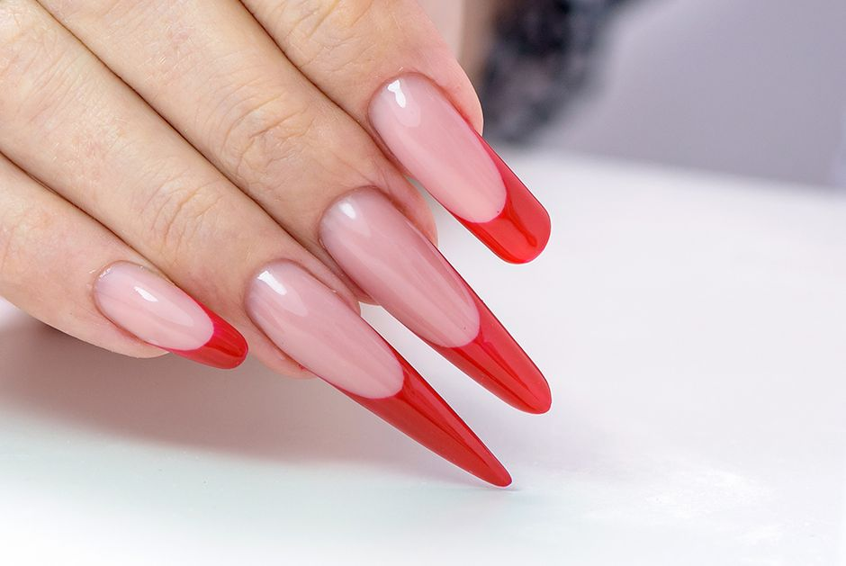 Red tip manicure Top Coat Nails